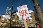 Local campaigners protest the closure by Lambeth council of Carnegie Library, in Herne Hill, south London on 2nd April 2016. The angry local community in the south London borough have occupied their important resource for learning and social hub for the weekend. After a long campaign by locals, Lambeth have gone ahead and closed the library's doors for the last time because they say, cuts to their budget mean millions must be saved. A gym will replace the working library and while some of the 20,000 books on shelves will remain, no librarians will be present to administer it. London borough's budget cuts mean four of its 10 libraries will either close, move or be run by volunteers.
