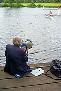 Henley on Thames, England, United Kingdom, Friday, 02/07/2021,  Marshall with Megaphone, direct a crew through the gap in the course,    Henley Women's Regatta, Henley Reach,  [Peter Spurrier/Intersport Images],