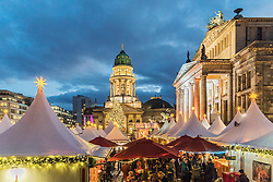 Evening view of Christmas Market at Gendarmenmarkt in Berlin Germany 2015