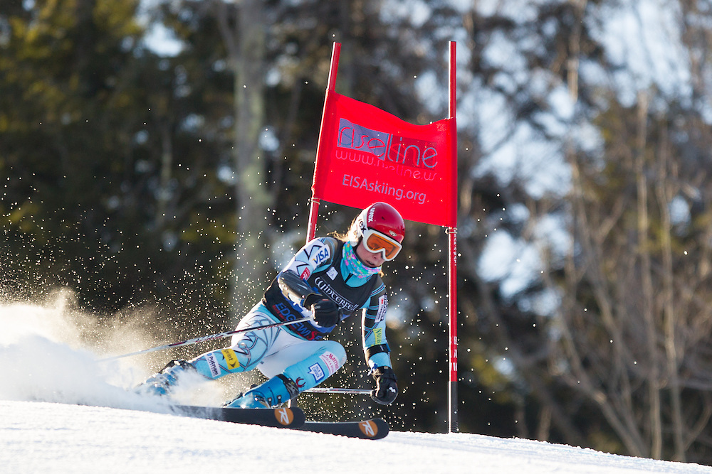 Michelle Connacher, skis during the first run of the women's giant slalom at the University of New Hampshire Carnival at Attitash Mountain on January 24, 2014 in Bartlett, NH. (Dustin Satloff/EISA)