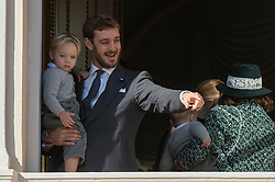 Pierre Casiraghi with Stefano Ercole Casiraghi are attending from the balcony the parade at the Palace Square during the National Day ceremonies in Monaco on November 19, 2018. Photo by ABACAPRESS.COM