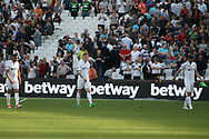 Swansea City players are dejected at full time. Premier league match, West Ham Utd v Swansea city at the London Stadium, Queen Elizabeth Olympic Park in London on Saturday 8th April 2017.<br /> pic by Steffan Bowen, Andrew Orchard sports photography.