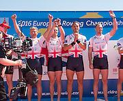 Brandenburg. GERMANY. Men's Four GBR M4- left to right Cobnstantine LOULOUDIS, George NASH, Mo SBIHI and Alex GREGORY. awards dock,<br /> 2016 European Rowing Championships at the Regattastrecke Beetzsee<br /> <br /> Sunday  08/05/2016<br /> <br /> [Mandatory Credit; Peter SPURRIER/Intersport-images]