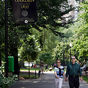 BOSTON, MASS- July 13, 2005:  Visitors stroll through the Public Garden, founded in 1837, in Boston, Massachusetts on July 13, 2005. (Photo by Todd Bigelow/Aurora)