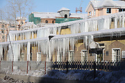 ALTAY, CHINA - JANUARY 12: (CHINA OUT) <br /> <br /> A row of houses whose eaves are hung with icefalls as the snow melts on daytime and freezes at night on January 12, 2016 in Altay Prefecture, Xinjiang Uyghur Autonomous Region of China. Affected by El Nino Phenomenon, Altay Prefecture seems to be a warm winter this year compared with previous winters.<br /> ©Exclusivepix Media