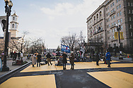 Washington DC, USA - January 20, 2021: A Biden President 2020 flag flies in Black Lives Matter Plaza on Inauguration Day.
