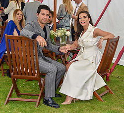 Amy Jackson and George Panayiotou at the Cartier Queen's Cup Polo 2019 held at Guards Polo Club, Windsor, Berkshire. UK 16 June 2019. <br /> <br /> Photo by Dominic O'Neill/Desmond O'Neill Features Ltd.  +44(0)7092 235465  www.donfeatures.com