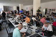 The main working area of the England media centre in Urca, Rio de Janeiro. Very well equipped with plenty of power & internet connections, food and drink. Thanks FA! Photo by Andrew Tobin/Tobinators Ltd