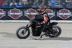 RSD's Cameron Brewer (#24) in the AMA Flat Track and Super Hooligan racing at Daytona Speedway's Flat Track during Daytona Bike Week's 75th Anniversary event. Ormond Beach, FL, USA. Thursday March 10, 2016.  Photography ©2016 Michael Lichter.