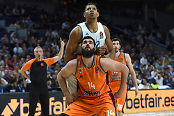 December 19, 2017 - Madrid, Madrid, Spain - Bojan Dubljevic (down), #14 of Valencia and Tavares, #22 of Real Madrid, pictured during the 2017/2018 Turkish Airlines EuroLeague Regular Season Round 13 game between Real Madrid and Valencia Basket at WiZink center in Madrid. (Credit Image: © Jorge Sanz/Pacific Press via ZUMA Wire)