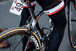 Floortje Mackaij's bike splattered with dirt from the roads around Dour at Le Samyn des Dames 2018 - a 103 km road race on February 27, 2018, from Quaregnon to Dour, Belgium. (Photo by Sean Robinson/Velofocus.com)