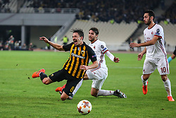 ATHENS, Nov. 3, 2017  Andre Simoes (L) of AEK Athens competes during the UEFA Europa League group D match between AEK Athens and AC Milan in Athens, Greece on Nov. 2, 2017. The match ended with a 0-0 tie. (Credit Image: © Lefteris Partsalis/Xinhua via ZUMA Wire)