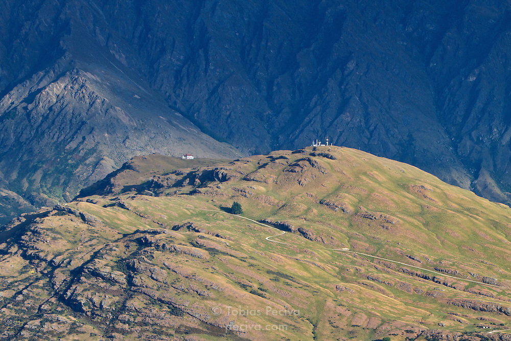 The Remarkables mountain range towers over Deer Park Heights, near Queenstown.