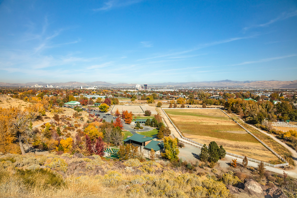 """""""Reno, Nevada in Autumn 2"""" - Photograph of fall colors shot from Audrey Harris Park with Downtown Reno in the left background."""