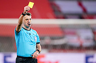 Referee Alexey Kulbakov showing yellow card during the UEFA Europa League, Group D football match between Standard de Liege and SL Benfica on December 10, 2020 at Maurice Dufrasne stadium in Liege, Belgium - Photo Jeroen Meuwsen / Orange Pictures / ProSportsImages / DPPI