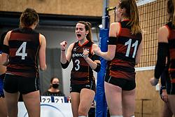 Nicole van de Vosse #3 of Talent Team  in action during the first league match in the corona lockdown between Talentteam Papendal vs. Sliedrecht Sport on January 09, 2021 in Ede.