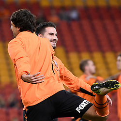 BRISBANE, AUSTRALIA - APRIL 21: Thomas Broich and Jamie MacLaren of the Roar warm up before the Hyundai A-League Elimination Final match between the Brisbane Roar and Western Sydney Wanderers at Suncorp Stadium on April 21, 2017 in Brisbane, Australia. (Photo by Patrick Kearney/Brisbane Roar)