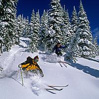 SKIING, Patrick Shanahan & Matt Mosteller (MR) ski Evan's Heaven, The Big Mountain, Whitefish, MT