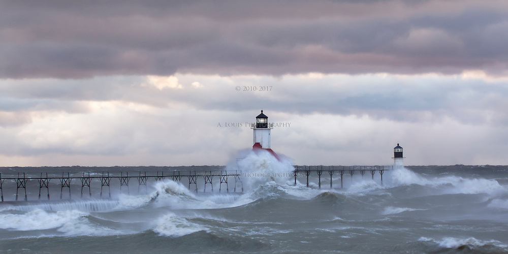 High winds out of the north turned lake Michigan into a blender on Halloween