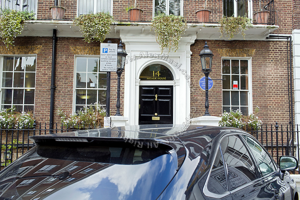 A luxury car is parked in front of 14 Manchester Square (Dabaiba HQ) in central London, United Kingdom.<br /> <br /> CREDIT: Alex Masi for The Wall Street Journal<br /> CHESTERTON<br /> <br /> The name of London real-estate agency Chesterton Humberts exudes English affluence. But in early 2011, as Libya was engulfed in revolution, a substantial stake in the firm was quietly acquired by the wealthy family of a longtime lieutenant to Moammar Gadhafi, according to a person with direct knowledge of the investment.