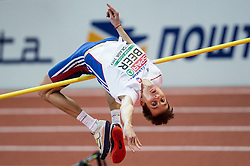 Lukáš Beer of Slovakia competes in the High Jump Men Qualification on day two of the 2017 European Athletics Indoor Championships at the Kombank Arena on March 4, 2017 in Belgrade, Serbia. Photo by Vid Ponikvar / Sportida
