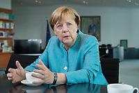 23 AUG 2017, BERLIN/GERMANY:<br /> Angela Merkel, CDU, Bundeskanzlerin, waehrend einem Interview, in Ihrem Buero, Bundeskanzleramt<br /> IMAGE: 20170823-02-004<br /> KEYWORDS: Büro