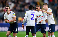 Preston North End's Louis Moult, centre, celebrates scoring his side's equalising goal to make the score 1-1 with team-mates Darnell Fisher, left, and Jordan Storey<br /> <br /> Photographer Chris Vaughan/CameraSport<br /> <br /> The EFL Sky Bet Championship - Hull City v Preston North End - Saturday 20th October 2018 - KCOM Stadium - Hull<br /> <br /> World Copyright © 2018 CameraSport. All rights reserved. 43 Linden Ave. Countesthorpe. Leicester. England. LE8 5PG - Tel: +44 (0) 116 277 4147 - admin@camerasport.com - www.camerasport.com