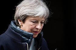 © Licensed to London News Pictures. 26/03/2018. London, UK. British Prime Minister THERESA MAY leaves 10 Downing Street in London to deliver a statement to Parliament on last weeks EU summit. Photo credit: Ben Cawthra/LNP