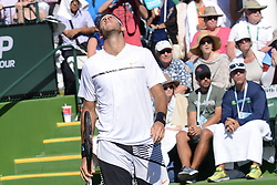 March 11, 2017 - Indian Wells, California, United States - JUAN MARTIN DEL PO in his doubles match w/ L/ Paes BNP Paribas Open tennis tournament in Indian Wells California. (Credit Image: © Christopher Levy via ZUMA Wire)