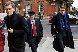 "© Licensed to London News Pictures. 10/01/2017. London, UK. Labour Party leader JEREMY CORBYN (centre) seen in London with Labour Party's Executive Director of Strategy and Communications SEUMAS MILNE (Left) and JAMES SCHNEIDER of Momentum (right) , on the day he is due to give a speech on Brexit, arguing that the UK ""can be better off"" after leaving the EU. Photo credit: Ben Cawthra/LNP"