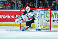 KELOWNA, BC - JANUARY 31: Cole Schwebius #31 of the Kelowna Rockets stretches in net after a firsty period goalie change against the Spokane Chiefs at Prospera Place on January 31, 2020 in Kelowna, Canada. (Photo by Marissa Baecker/Shoot the Breeze)