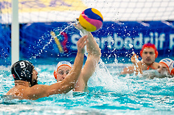 Jesse Koopman of the Netherlands in action against Mehdi Marzouki of France during the Olympic qualifying tournament. The Dutch water polo players are on the hunt for a starting ticket for the Olympic Games on February 17, 2021 in Rotterdam