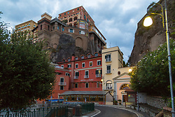 Sorrento, Italy, September 13 2017. Buildings cling to the cliff faces in Sorrento, Italy as another day dawns. © Paul Davey