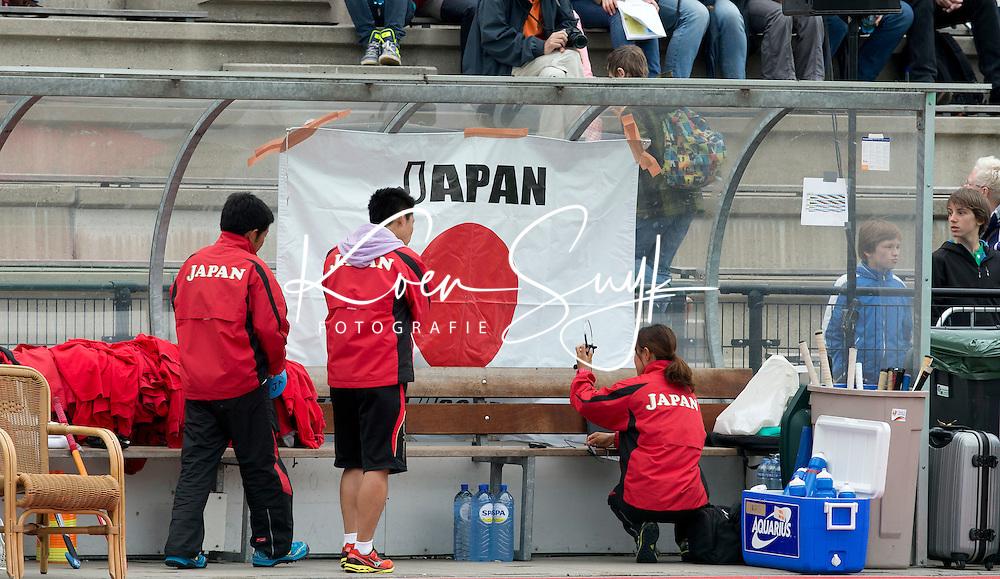 ROTTERDAM - Dug out van Japan tijdens de wedstrijd tussen de vrouwen van Nederland en Japan tijdens de Rabobank Hockey Wolrd League in Rotterdam. ANP KOEN SUYK