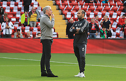 Manchester United manager Jose Mourinho and Tactical analyst Giovanni Cerra before the Premier League match at Anfield, Liverpool.