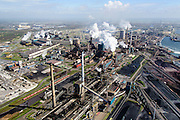 Nederland, Noord-Holland, IJmuiden , 09-04-2014; IJmuiden Steel Works van Tata Steel.  Overzicht met  cokesfabriek in de voorgrond. <br /> IJmuiden Steel Works, part of Tata Steel.<br /> luchtfoto (toeslag op standard tarieven);<br /> aerial photo (additional fee required);<br /> copyright foto/photo Siebe Swart
