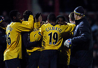 Photo: Jed Wee.<br /> Doncaster Rovers v Arsenal. Carling Cup. 21/12/2005.<br /> <br /> Arsenal players celebrate their win.