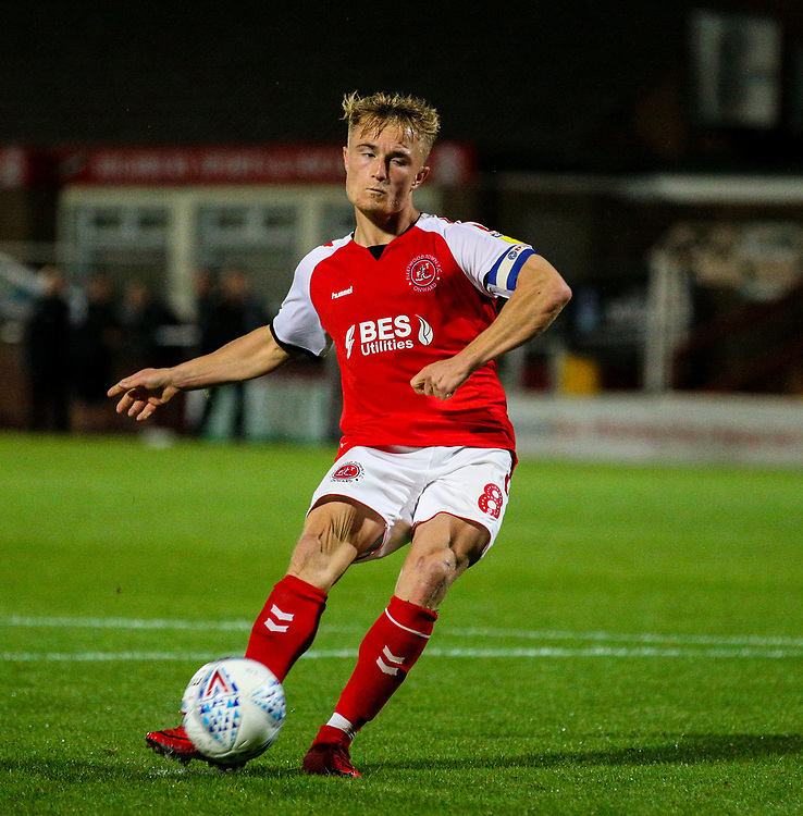 Fleetwood Town's Kyle Dempsey misses his penalty<br /> <br /> Photographer Alex Dodd/CameraSport<br /> <br /> The EFL Checkatrade Trophy - Northern Group B - Fleetwood Town v Leicester City U21 - Tuesday September 11th 2018 - Highbury Stadium - Fleetwood<br />  <br /> World Copyright © 2018 CameraSport. All rights reserved. 43 Linden Ave. Countesthorpe. Leicester. England. LE8 5PG - Tel: +44 (0) 116 277 4147 - admin@camerasport.com - www.camerasport.com