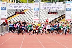 Sheffield Half Marathon  Fun Run Start Sunday Morning..12 May 2013.Image © Paul David Drabble
