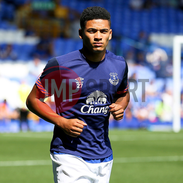 Everton's Tyias Browning warms up - Mandatory byline: Matt McNulty/JMP - 07966386802 - 08/08/2015 - FOOTBALL - Goodison Park -Liverpool,England - Everton v Watford - Barclays Premier League