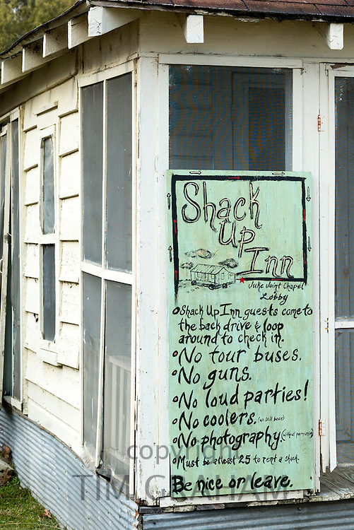 House rules sign at The Shack Up Inn cotton pickers themed hotel, Clarksdale, Mississippi USA