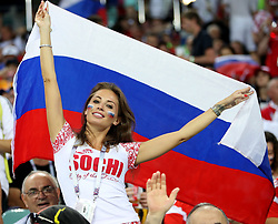SOCHI, July 7, 2018  A fan of Russia is seen prior to the 2018 FIFA World Cup quarter-final match between Russia and Croatia in Sochi, Russia, July 7, 2018. (Credit Image: © Wu Zhuang/Xinhua via ZUMA Wire)