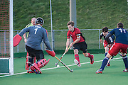 Southgate's Callum Burden attacks down the Oxted back line. Southgate v Oxted, Trent Park, Southgate, UK on 08 March 2014. Photo: Simon Parker