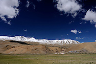 Ladakh, view of Korzok, a village situated at the altitude of over 4600 meters over the sea level at Tso Moriri Lake.