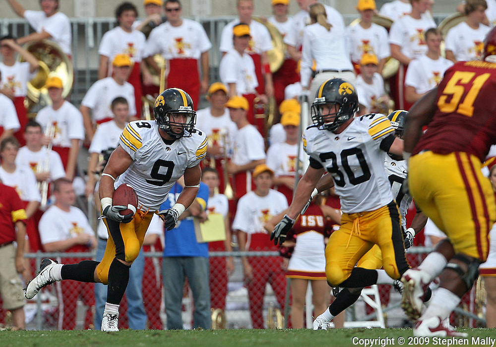 September 12, 2009: Iowa cornerback Tyler Sash (9) pulls in another interception in the fourth quarter of the Iowa Hawkeyes' 35-3 win over the Iowa State Cyclons at Jack Trice Stadium in Ames, Iowa on September 12, 2009.