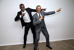 "President Barack Obama poses with Usain Bolt, the fastest runner in the world, backstage following a ""Young Leaders of the Americas Initiative"" town hall at the University of the West Indies in Kingston, Jamaica, April 9, 2015.  (Official White House Photo by Pete Souza)<br /> <br /> This official White House photograph is being made available only for publication by news organizations and/or for personal use printing by the subject(s) of the photograph. The photograph may not be manipulated in any way and may not be used in commercial or political materials, advertisements, emails, products, promotions that in any way suggests approval or endorsement of the President, the First Family, or the White House."