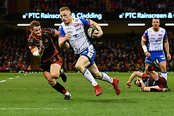 27th April 2019 , Principality Stadium , Cardiff, Wales ; Guinness pro 14's, Round 21, Dragons vs Scarlets ; Johnny McNicholl of Scarlets makes a break<br /> <br /> Credit :  Craig Thomas/Replay Images