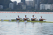 "Rio de Janeiro. BRAZIL.  GBRM4X. Bow. <br /> Jack BEAUMONT, San TOWNSEND, Angus GROOM and Pete LAMBERT, 2016 Olympic Rowing Regatta. Lagoa Stadium,<br /> Copacabana,  ""Olympic Summer Games""<br /> Rodrigo de Freitas Lagoon, Lagoa. Local Time 10:21:21  Thursday  11/08/2016 <br /> [Mandatory Credit; Peter SPURRIER/Intersport Images]"