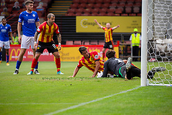31JUL21 Partick Thistle's Brian Graham scoring their second goal. Partick Thistle 3 v 2 Queen of the South. First Scottish Championship game of the season.