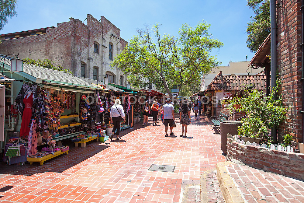 Shoppers at Olvera Street in Los Angeles California